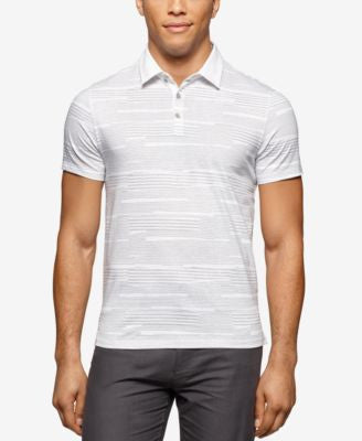 Calvin Klein Men's Slim Fit Printed Jersey Liquid Cotton Polo Shirt