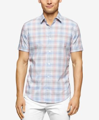 Calvin Klein Men's Big & Tall Check Short Sleeve Button-Front Shirt