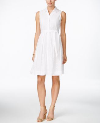 Charter Club Petite Sleeveless Eyelet Shirtdress, Only at Vogily