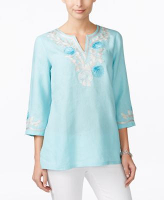 Charter Club Seashell Embroidered Linen Tunic, Only at Vogily