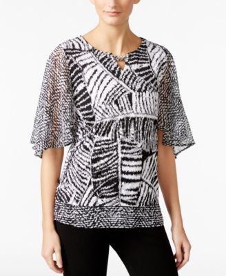 JM Collection Printed Sheer-Sleeve Top, Only at Vogily