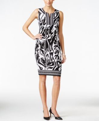 JM Collection Petite Split-Neck Zebra-Print Dress, Only at Vogily