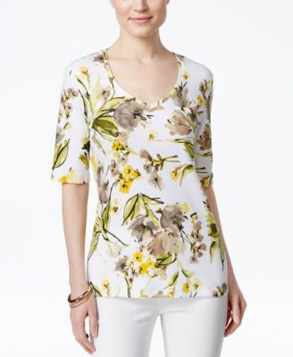 Karen Scott Floral-Print V-Neck Tee, Only at Vogily