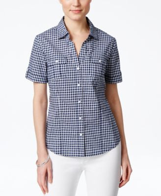 Karen Scott Gingham Short-Sleeve Shirt, Only at Vogily