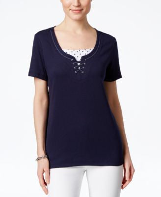 Karen Scott Petite Layered-Look T-Shirt, Only at Vogily