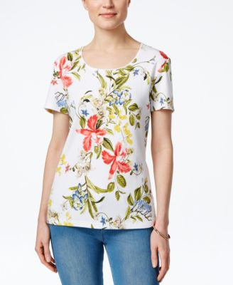 Karen Scott Petite Floral-Print T-Shirt, Only at Vogily