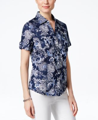 Karen Scott Petite Floral-Print Short-Sleeve Shirt, Only at Vogily