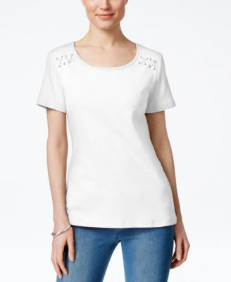 Karen Scott Lace-Up T-Shirt, Only at Vogily