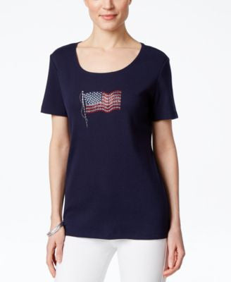 Karen Scott Flag Graphic T-Shirt, Only at Vogily