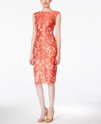 Vince Camuto Lace Cap-Sleeve Sheath Dress