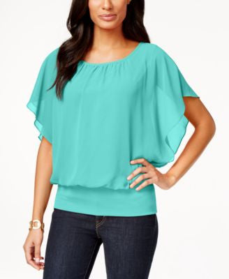Style & Co. Flutter-Sleeve Banded-Hem Top, Only at Vogily