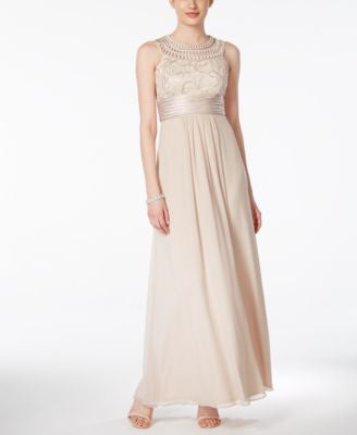 Jessica Howard Soutache Ruched Empire Gown