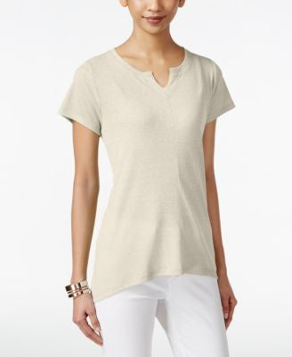 Style & Co. Petite High-Low Split-Neck T-Shirt, Only at Vogily