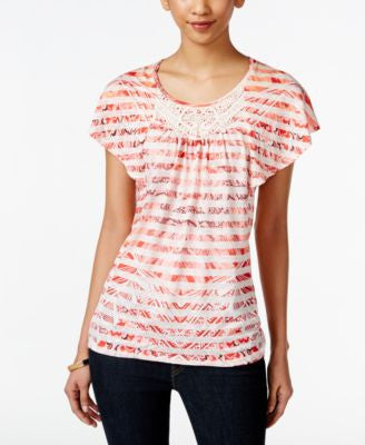 Style & Co. Petite Crochet-Detail Flutter-Sleeve Top, Only at Vogily