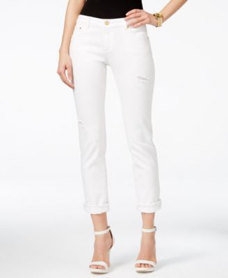 MICHAEL Michael Kors Distressed Straight-Leg Jeans, White Wash