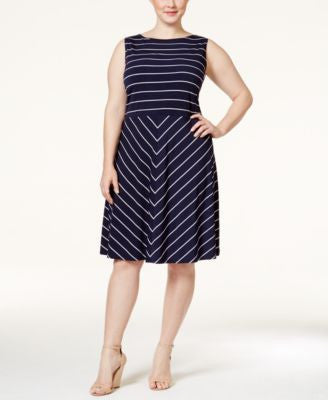 Charter Club Plus Size Striped Fit & Flare Dress, Only at Vogily