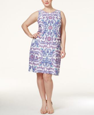 Charter Club Plus Size Paisley-Print Shift Dress, Only at Vogily
