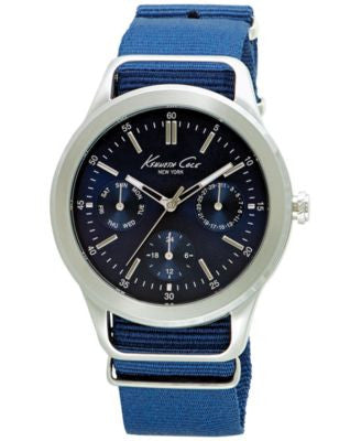 Kenneth Cole New York Men's Blue Nylon Strap Watch 44mm 10027883