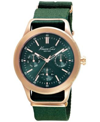 Kenneth Cole New York Men's Green Nylon Strap Watch 44mm 10027884