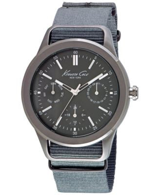 Kenneth Cole New York Men's Gray Nylon Strap Watch 44mm 10027885