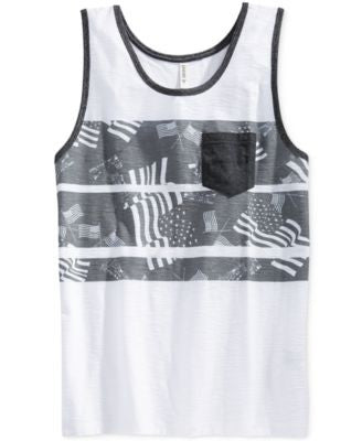 Univibe Men's Lady Liberty Flag-Print Stripe Tank
