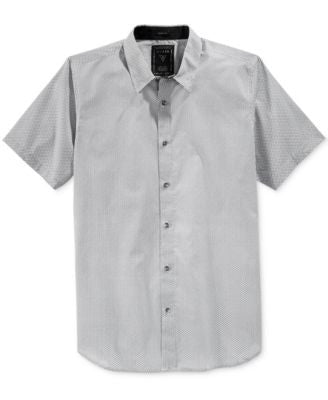 GUESS Men's Crain Grid-Print Short-Sleeve Shirt