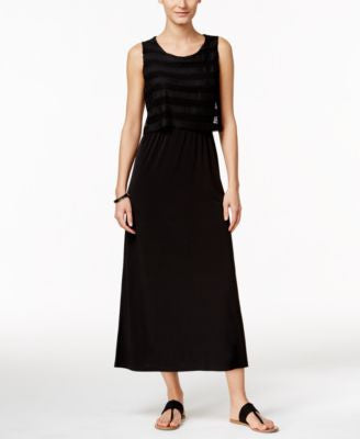 NY Collection Petite Crochet-Popover Maxi Dress
