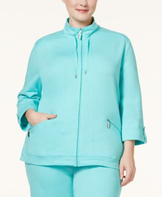 Karen Scott Plus Size Three-Quarter Sleeve Jacket, Only at Vogily