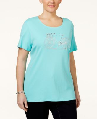 Karen Scott Plus Size Embellished Graphic T-Shirt, Only at Vogily