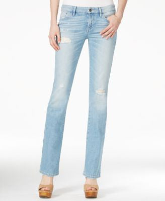GUESS Ripped Valencia Wash Mini Bootcut Jeans