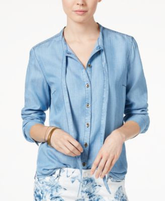 GUESS Violet Tie-Front Denim Shirt