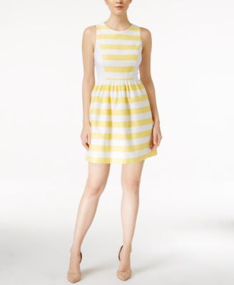 kensie Striped Colorblocked Fit & Flare Dress