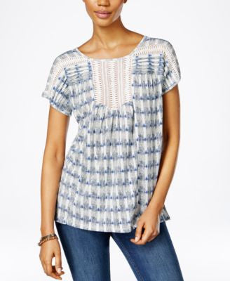 Lucky Brand Printed Crochet-Trim Top