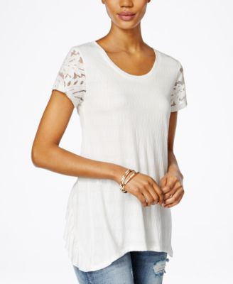 Miss Me Lace-Sleeve Ruffled-Back Top