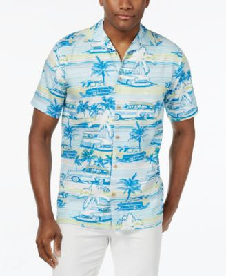 Newport Blue Men's Big and Tall Woodgrain Cruisin Tropical-Print Short-Sleeve Shirt