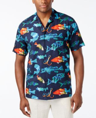 Newport Blue Men's Big and Tall Live To Fish Shirt
