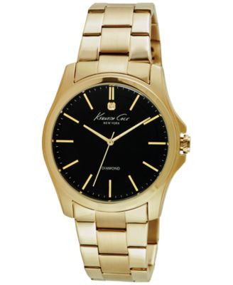 Kenneth Cole New York Men's Diamond Accent Gold-Tone Ion-Plated Stainless Steel Bracelet Watch 44mm