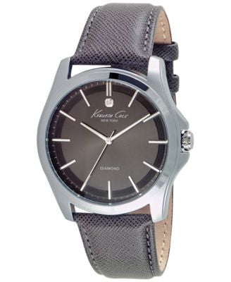 Kenneth Cole New York Men's Diamond Accent Gray Leather Strap Watch 44mm 10027419