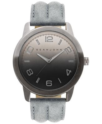 Sean John Men's Gray Leather Strap Watch 48mm 10029428