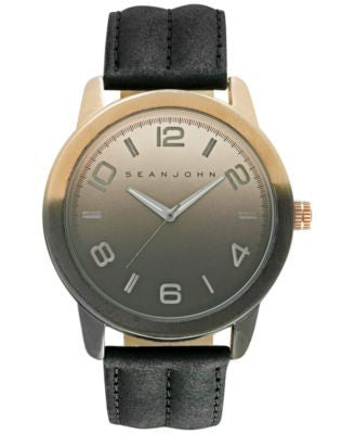 Sean John Men's Black Leather Strap Watch 48mm 10029430