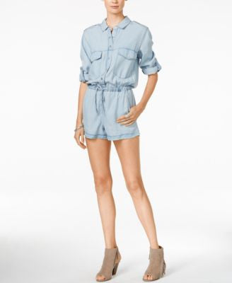 Sanctuary Drawstring-Waist Denim Romper