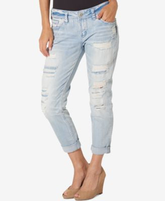Silver Jeans Ripped Light Blue Wash Boyfriend Jeans