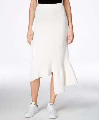 RACHEL Rachel Roy Ribbed Asymmetrical Midi Skirt