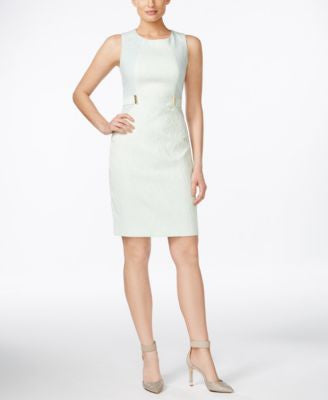 Calvin Klein Petite Sleeveless Belt-Tab Sheath Dress
