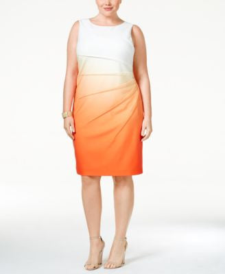 Calvin Klein Plus Size Pleated Ombre Sheath Dress