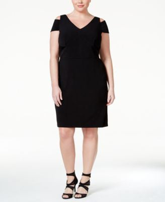 Calvin Klein Plus Size Cold-Shoulder Sheath Dress