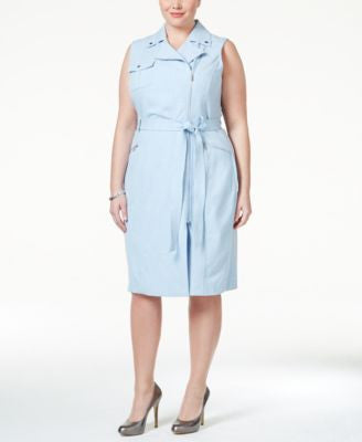 Calvin Klein Plus Size Belted Asymmetrical-Zip Sheath Dress
