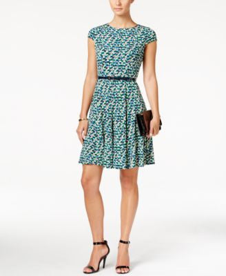 Jessica Howard Petite Printed Belted Fit & Flare Dress