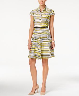 Nine West Striped Belted Shirtdress