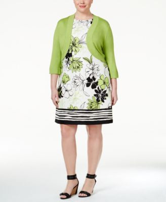 Jessica Howard Plus Size Bolero Shrug and Printed Shift Dress